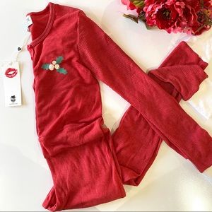 WildFox Red Holiday Fox Jumpsuit Pajama Thermal S